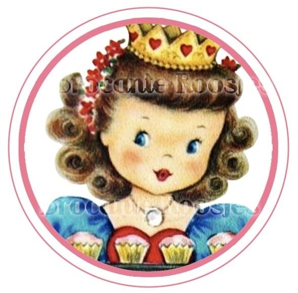 (FB-023) Flatback button - vintage meisje - kroontje