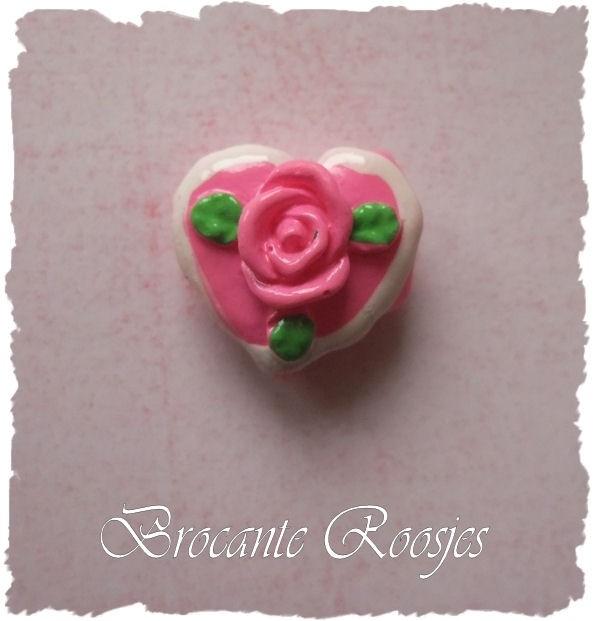 (FL-ha-004) Flatback - hartje met roosje - roze