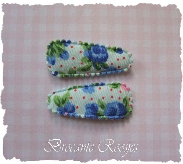 (HOBd-018) 2 hoesjes - baby - roosjes & bloemetjes - blauw