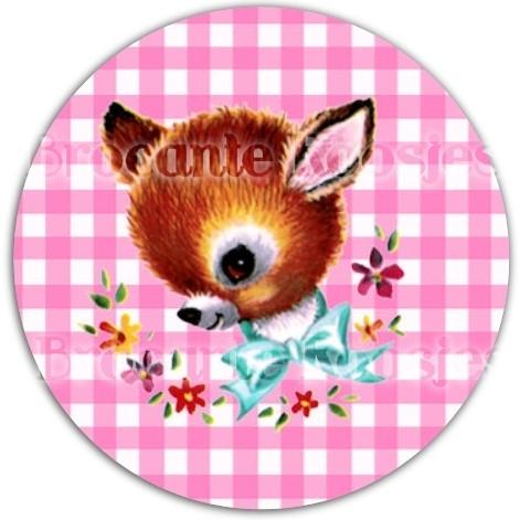 (FB-001) Flatback button - hertje - ruitje - roze