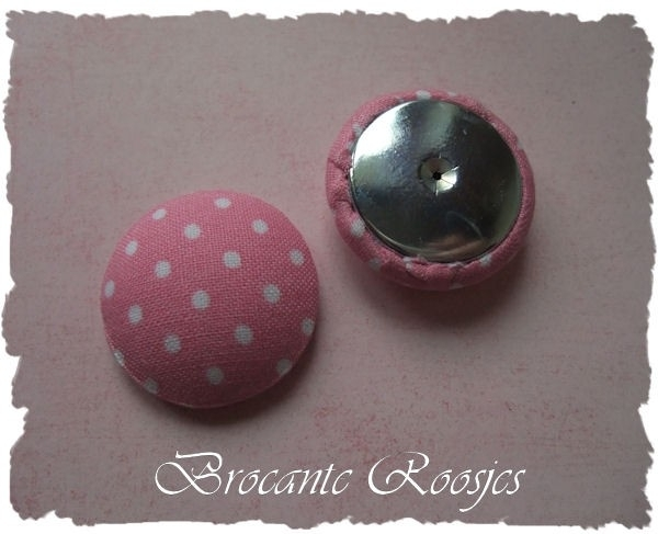 (Skf-031) Stofknoop - flatback - 28mm - stipje - roze