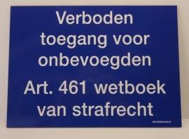 """Kunststof  BORDJE """"verboden toegang blauw / wit 35x25 cm"""