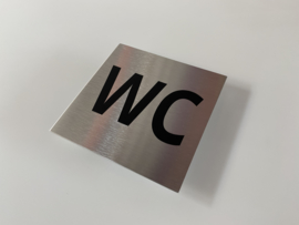 RVS deurplaatje, tekst WC 9 x 9 cm