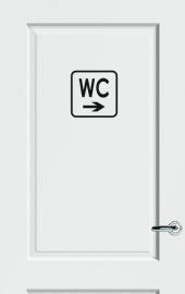 WC deursticker KADER + TEKST WC + PIJL RECHTS - Art.nr. PSK008