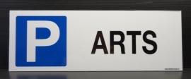 """Kunststof Bordje P + tekst """"ARTS"""" - art.nr.0039"""