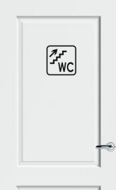WC deursticker KADER + TEKST WC + TRAP + PIJL RECHTS OMHOOG- Art.nr. PSK010
