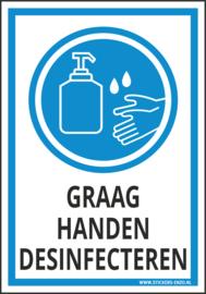 Pictogramsticker (Ook als bordje!) GRAAG HANDEN DESINFECTEREN 14X20 CM - ART.NR. PS0102-14X20