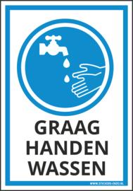Pictogramsticker ( Ook als bordje! ) GRAAG HANDEN WASSEN 14X20 CM - ART.NR. PS0101-14X20