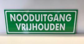 Bordje met opschrift 'NOODUITGANG VRIJHOUDEN' ART.NR. EF103