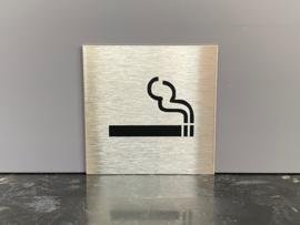 RVS deurplaatje, pictogram roken toegestaan 9 x 9 cm