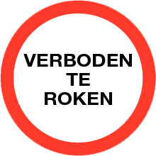 VERBODEN TE ROKEN sticker TEKST ⌀ 9 cm - art.nr. PS0002-9