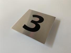 RVS deurplaatje, met nummer 3 - formaat 9 x 9 cm