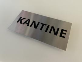 """RVS deurplaatje, opschrift """"KANTINE"""" 18x9cm"""