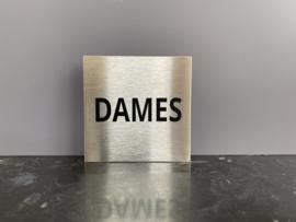 RVS deurplaatje, opschrift DAMES 9 x 9 cm