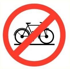 Sticker Verboden voor fietsen pictogram Ø 9cm SPIEGELBEELD (art.nr.32A1.20)