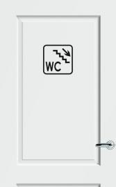 WC deursticker KADER + TEKST WC + TRAP + PIJL RECHTS OMLAAG- Art.nr. PSK013