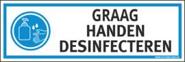 Pictogramsticker GRAAG HANDEN DESINFECTEREN 15X5 CM - ART.NR. PS0103-15X5