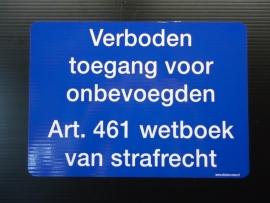 "Sticker ""verboden toegang blauw / wit  21x15 cm (art.nr.EF007S)"