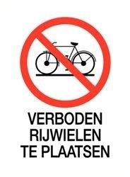 Sticker Verboden rijwielen te plaatsen 14x20cm (art.nr.3232.57)