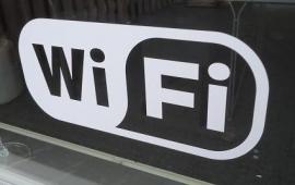 Pictogram sticker draadloos internet - WIFI sticker 4 -  21 x 9,5 cm