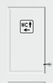 WC deursticker KADER + TEKST WC + PICTO HEREN + PIJL LINKS - Art.nr. PSK 015