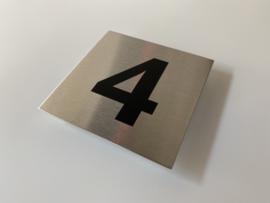 RVS deurplaatje, met nummer 4 - formaat 9 x 9 cm