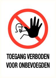 Pictogram sticker TOEGANG VERBODEN + TEKST 'RECHTHOEK' 14x20 CM- art.nr. PS0009-14x20