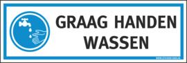 Pictogramsticker GRAAG HANDEN WASSEN 15X5 CM - ART.NR. PS0101-15X5