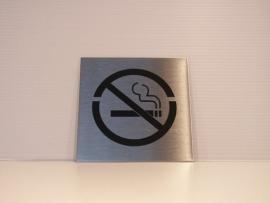 RVS deurplaatje, pictogram Roken verboden 9 x 9 cm