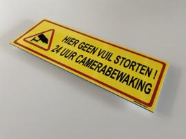 Sticker 'HIER GEEN VUIL STORTEN 24 UUR CAMERABEWAKING' -Art.nr.0043S