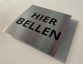 """RVS deurplaatje, tekst """"HIER BELLEN"""" 9 x 9 cm"""