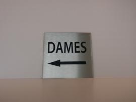 RVS deurplaatje, opschrift DAMES + pijl links 9 x 9 cm