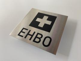 RVS deurplaatje, pictogram + tekst EHBO 9 x 9 cm