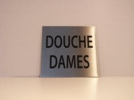 RVS deurplaatje, tekst DOUCHE DAMES, 9 x 9 cm