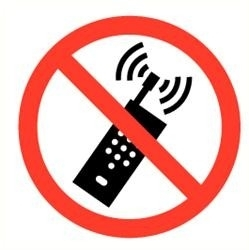 Sticker mobiele telefoons verboden Ø 9 cm(art.nr.3231.R1)