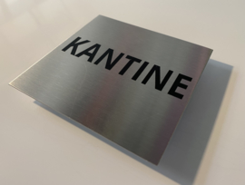 RVS deurplaatje, tekst KANTINE 9 x 9 cm
