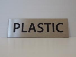 """RVS deurplaatje, opschrift """"PLASTIC"""" 15x5 cm"""