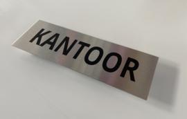"""RVS deurplaatje, opschrift """"KANTOOR"""" 15x5 cm"""