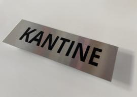 """RVS deurplaatje, opschrift """"KANTINE"""" 15x5 cm"""