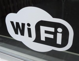 Pictogram sticker draadloos internet - WIFI sticker 8 - 27,5 x 18 cm