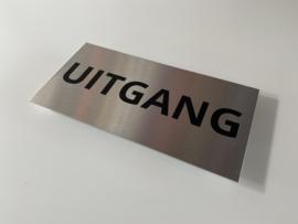 """RVS deurplaatje, opschrift """"UITGANG"""" 18x9cm"""