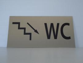 """RVS deurplaatje, opschrift """"WC""""  + pijl trap rechts omlaag 18x9cm"""