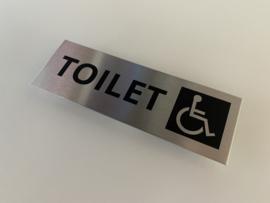 """RVS deurplaatje, opschrift """"TOILET"""" +pictogram mindervalide 15x5 cm"""