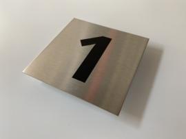 RVS deurplaatje, met nummer 1 - formaat 9 x 9 cm