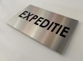 RVS buitenbord met opschrift 'EXPEDITIE' 30 x 20 CM