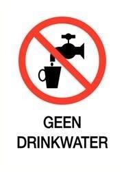 Pictogrambordje Geen Drinkwater 6x8cm - SET VAN 5 STUKS art.nr. PS0014-6x8B