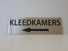 """RVS deurplaatje, opschrift """"KLEEDKAMERS"""" +pijl links 15x5cm"""