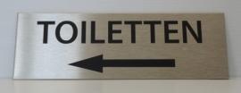 RVS deurplaatje, opschrift TOILETTEN & pijl links 15x5cm