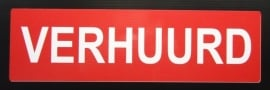 "Sticker opdruk  ""VERHUURD"" 34x10 cm (art.nr. EF023)"