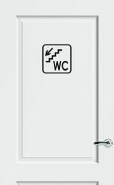 WC deursticker KADER + TEKST WC + TRAP + PIJL LINKS OMLAAG- Art.nr. PSK012